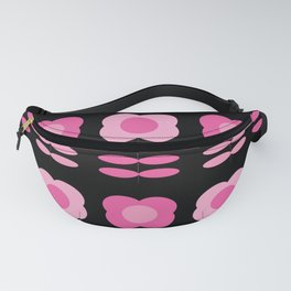 Pink Retro Flowers with Black Bkgrd Fanny Pack