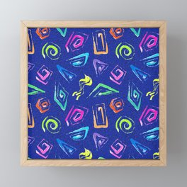 Surf Spiral Shapes in Neon Periwinkle Framed Mini Art Print