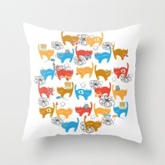 Geek Chic Cats {Nerds, Cameras, Computers, Bow Ties & Glasses} Throw Pillow