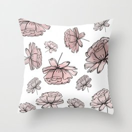 Hand Drawn Peonies Dusty Rose Throw Pillow