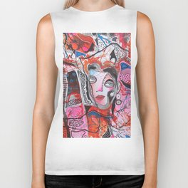 Lady In Pink And Orange Biker Tank