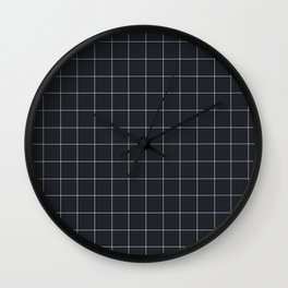 Grid in Charcoal Wall Clock