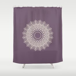 Mandala in Mulberry and White Shower Curtain