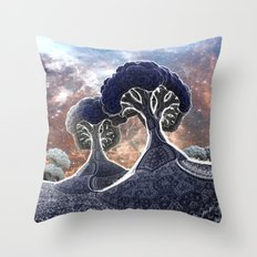 Broccoli Planet in Winter Throw Pillow
