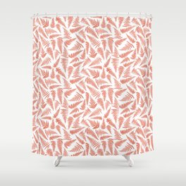 Fern terracotta and white seamless pattern design Shower Curtain