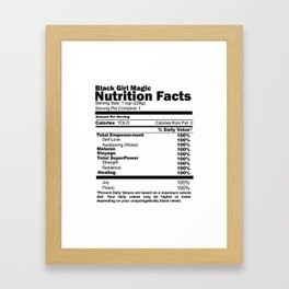 Black Girl Magic Nutrition Facts Framed Art Print