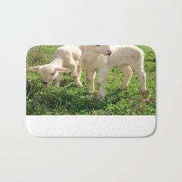 Spring Lambs Grazing On Farmland Bath Mat