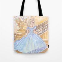 cinderella Tote Bags featuring Cinderella by carotoki art and love