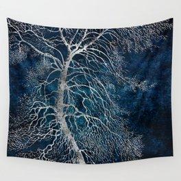 Midnight Silver tree - Black Poplar Wall Tapestry