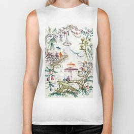 Enchanted Forest Chinoiserie Biker Tank