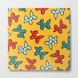 Balloon Animal Dogs Pattern in Yellow Metal Print