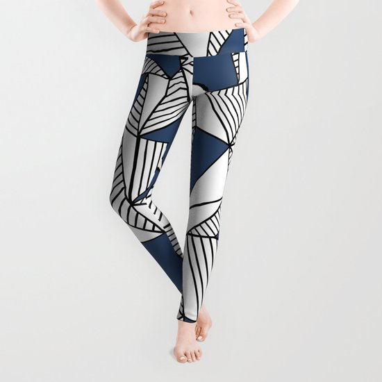 Abstraction Lines with Navy Blocks Leggings