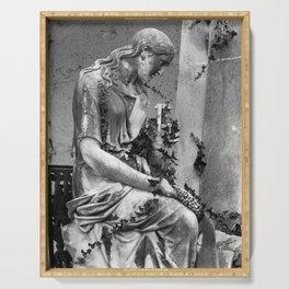sad female statue Serving Tray