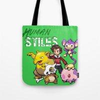 stiles stilinski Tote Bags featuring PokeWolf: Stiles Stilinski by Trickwolves