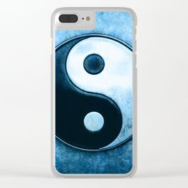 Yin Yang - Scratchy Blue Clear iPhone Case