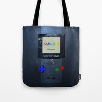 gameboy Tote Bags featuring GAMEBOY by MiliarderBrown