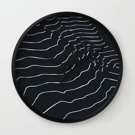 Black and white Mountain contour lines Wall Clock
