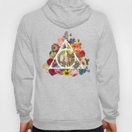 Floral Deathly Hallows Owl and Stag - White Hoody