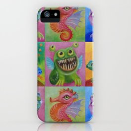 Baby Dragon Funny Monster Comic Illustration Painting for children Nursery decor iPhone Case