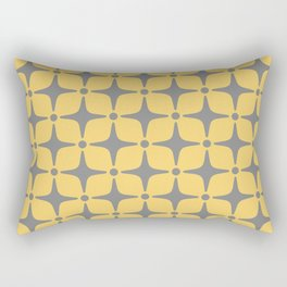 Mid Century Modern Star Pattern Yellow and Gray Rectangular Pillow