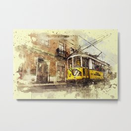 Trolly Train Car subway vintage rustic watercolor painting acrylic france europe italy amsterdam art Metal Print