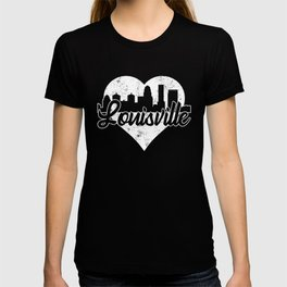 Retro Louisville Kentucky Skyline Heart Distressed T-shirt