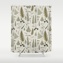 fern pattern white Shower Curtain