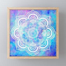 Mandala Pink Lavender Aqua Galaxy Space Framed Mini Art Print
