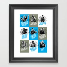 Badass 80's Action Movie Quotes Framed Art Print