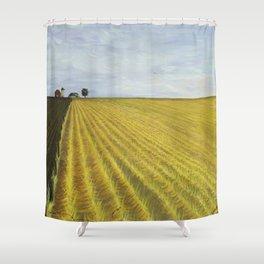 Alone, Farm, Acrylic on Canvas Shower Curtain