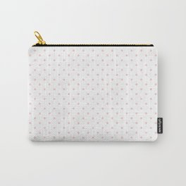 Mini Pale Millennial Pink Pastel Polka Dots On White Carry-All Pouch