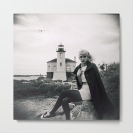 Lost Love at the Coquille River Lighthouse - Holga black and white film photograph Metal Print