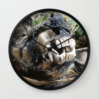 animal skull Wall Clocks featuring Animal Skull by CJ Thornburg