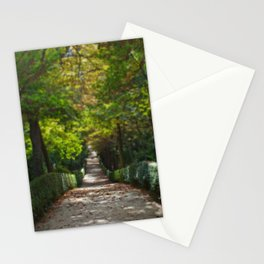 Tree lined path in Madrid Stationery Cards