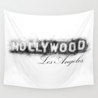 hollywood Wall Tapestries featuring Hollywood by KitschyPopShop