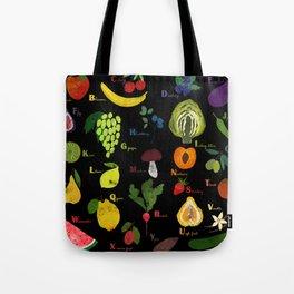English fruit and vegetables alphabet on dark Tote Bag