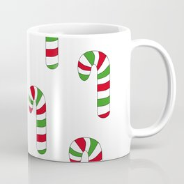 Green and Red Striped Candy Canes Coffee Mug