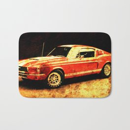 Original Shelby fast car red original classic car Bath Mat