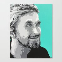 ryan gosling Canvas Prints featuring Ryan Gosling by megan matthews