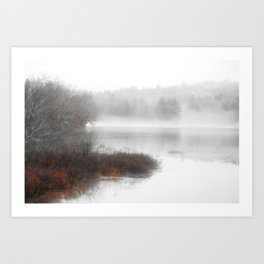 Foggy lake on a winter day - Nature Photography Art Print