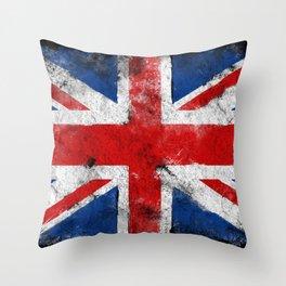 United Kingdom flag Grunge Throw Pillow