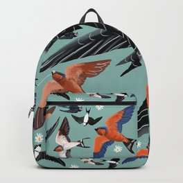 Swallows and swift pattern in blue Backpack