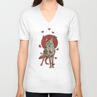 lady V-neck T-shirts featuring Lady Butterfly by Paula Belle Flores