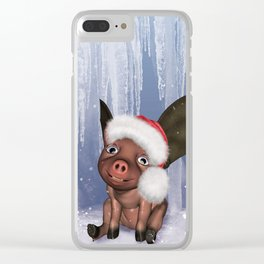 Christmas, cute little piglet Clear iPhone Case
