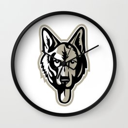 Alsatian Wolf Dog Head Mascot Wall Clock