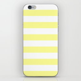 Horizontal Stripes - White and Pastel Yellow iPhone Skin