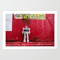 gundam Art Prints featuring Gundam by Space Out