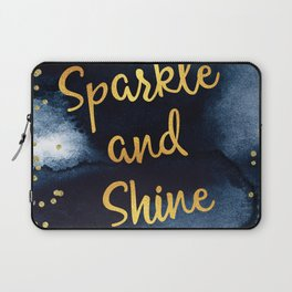Sparkle And Shine Gold And Black Ink Typography Art Laptop Sleeve