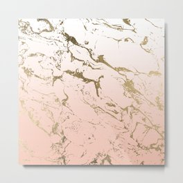 Pink blush white ombre gradient gold marble pattern Metal Print