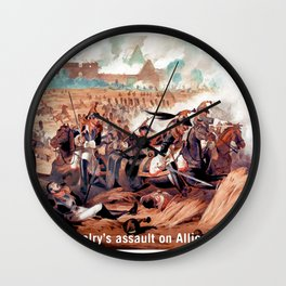 The French cavalry's assault on Allied defensive squares Wall Clock